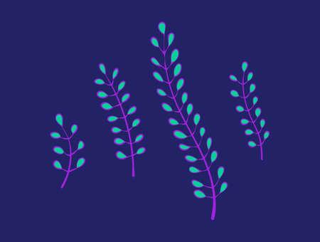 Underwater seaweed plants set. Cartoon seaware vector illustration, sea alga collection, isolated on blue background.