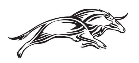Siluetta stilizzata del bisonte. Illustrazione animale di vettore, nero isolato su priorità bassa bianca.