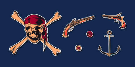 Pirate skull wearing bandana with crossbones and hand drawn sketch set illustration of buccaneer gun pistol and anchor. Vector filibuster drawing stickers isolated on navy background. Foto de archivo - 125474692