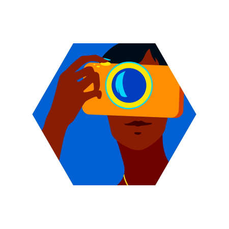 Portrait of beautiful young woman using a camera to take photo. Hexagon vector modern illustration, summer time design element, blue and orange  travel holiday symbol.