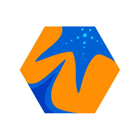 Starfish on sand at the beach. Hexagon vector modern illustration, summer time design element, blue and orange beach holiday symbol.