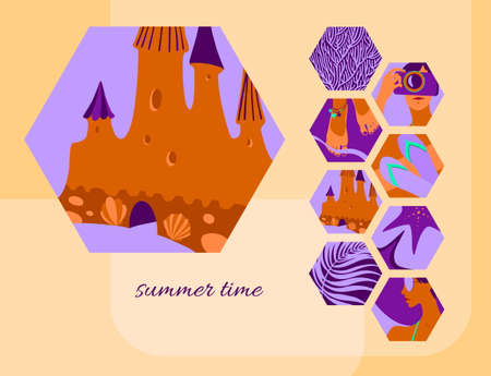 Summer time card template with sand castle. Vector modern background decorated by hexagon tropical beach holiday elements.