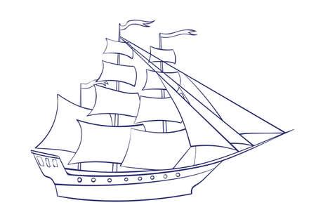 Voilier de contour vectoriel. Illustration de dessin animé graphique, image de frégate isolée sur fond blanc pour cahier de coloriage. Vecteurs