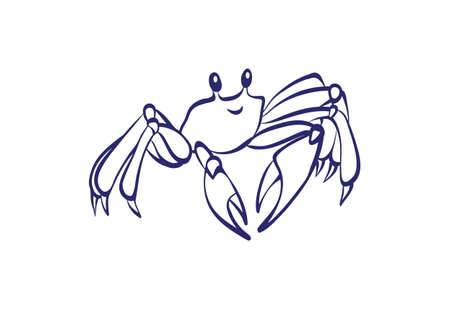 Vector outline cartoon sea crab. Graphic underwater animal illustration isolated on white background for coloring book.