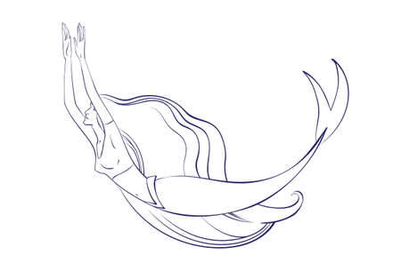 Swimming mermaid with beautiful flowing hair outline. Vector cartoon magic young girl undersea illustration, fantastic creature isolated on white background for coloring book.