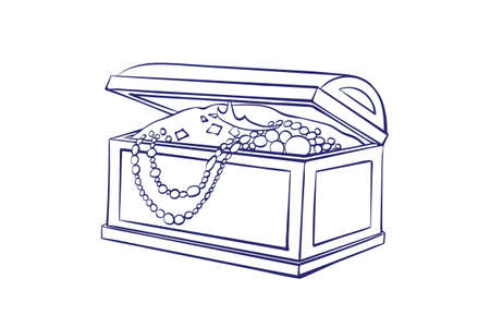 Treasure box for storage of jewelry outline. Decorative casket with gold coins, necklaces. �artoon vector illustration isolated on white background for coloring book.