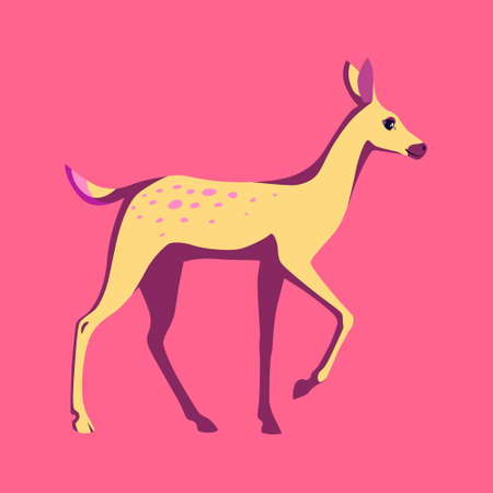Cute fawn animal vector illustration. Cartoon wild character for logo or mascot. Standing baby deer flat clipart.
