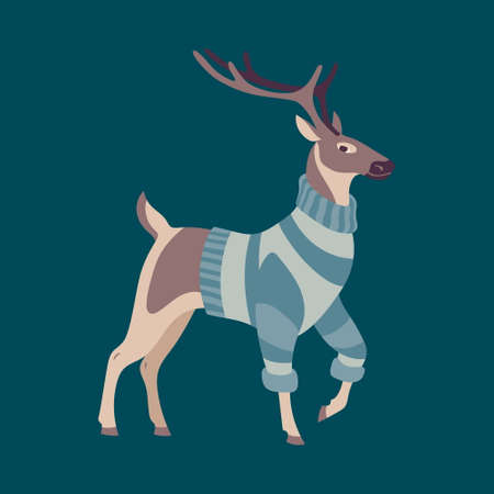 Deer dressed in warm knitted sweater. Scandinavian style vector wild forest animal. Cartoon retro character. Cute hugge autumn or winter illustration.