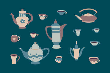 Retro set of cups and teapots in scandinavian style. Cartoon childrens cookware collection. Hyugge autumn or winter  teatime vector illustration. Sweet home vintage background.