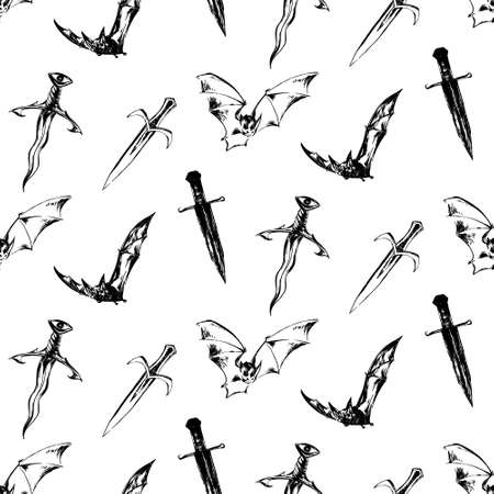 Hand drawn antique magic seamless pattern. Vector sketch endless illustration with bats, ancient swords and daggers. Halloween party retro grunge style background  painted by ink.