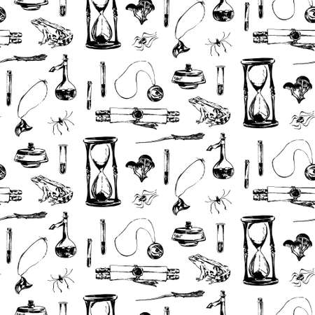 Hand drawn antique magic seamless pattern. Vector sketch endless illustration with amulet, hourglass, scroll, spider, frog. Halloween party retro grunge style backgroun  painted by ink. Illustration