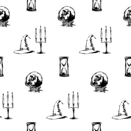Hand drawn antique witchcraft seamless pattern. Vector sketch endless illustration with wizard hat, magic ball, candlestick and hourglass. Halloween party retro grunge style background painted by ink.
