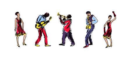 Jazz band hand drawn sketch vector illustration. People dancing and playing on musical instruments. Doodle colorful silhouettes of musicians isolated on white background. Иллюстрация