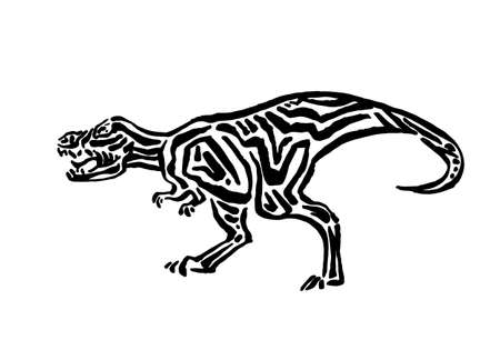 Ancient extinct jurassic t-rex dinosaur vector illustration ink painted, hand drawn grunge prehistoric tyrannosaur rex reptile, black isolated silhouette on white background.