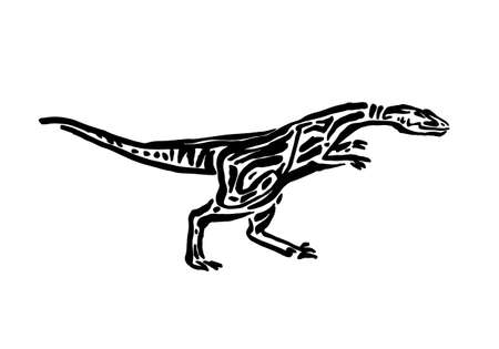 Ancient extinct jurassic iguanodon dinosaur vector illustration ink painted, hand drawn grunge prehistoric reptile, black isolated silhouette on white background. Illustration