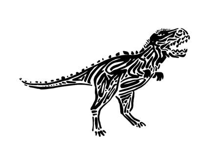 Ancient extinct jurassic carnotaurus dinosaur vector illustration ink painted, hand drawn grunge prehistoric t-rex reptile, black isolated rex silhouette on white background.