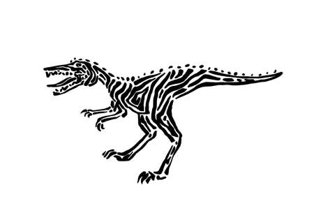 Ancient extinct jurassic velociraptor dinosaur vector illustration ink painted, hand drawn grunge prehistoric reptile, black isolated raptor silhouette on white background. Illustration