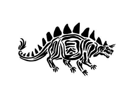 Ancient extinct jurassic stegosaurus dinosaur vector illustration ink painted, hand drawn grunge prehistoric reptile, black isolated silhouette on white background.