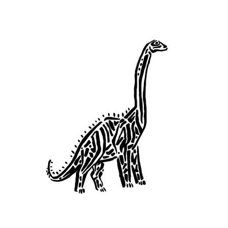 Ancient extinct jurassic brachiosaurus dinosaur vector illustration ink painted, hand drawn grunge prehistoric reptile, black isolated silhouette on white background.