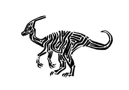 Ancient extinct jurassic parasaurolophus dinosaur vector illustration ink painted, hand drawn grunge prehistoric reptile, black isolated silhouette on white background.