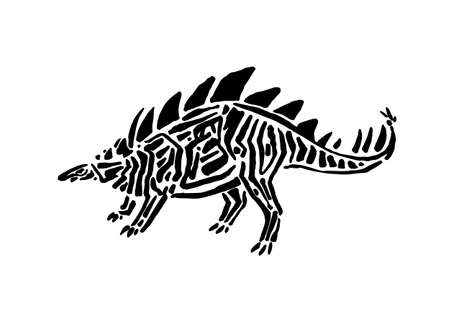 Ancient extinct jurassic hesperosaurus dinosaur vector illustration ink painted, hand drawn grunge prehistoric reptile, black isolated silhouette on white background.