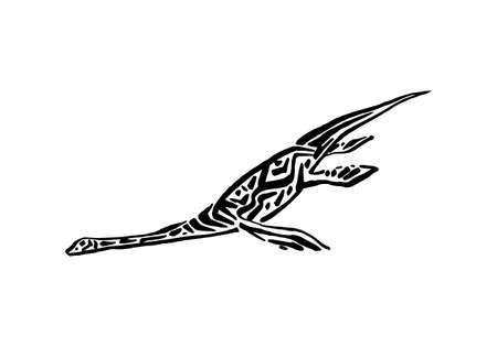 Ancient extinct jurassic plesiosaurus dinosaur vector illustration ink painted, hand drawn grunge prehistoric aquatic reptile, black isolated silhouette on white background.