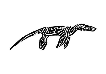 Ancient extinct jurassic liopleurodon dinosaur vector illustration ink painted, hand drawn grunge prehistoric aquatic reptile, black isolated silhouette on white background.