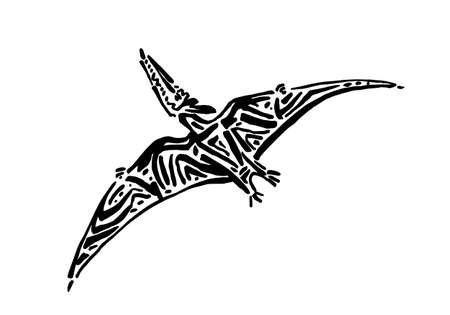 Ancient extinct jurassic pterodactyl dinosaur vector illustration ink painted, hand drawn grunge prehistoric flying pterosaur reptile, black isolated silhouette on white background.