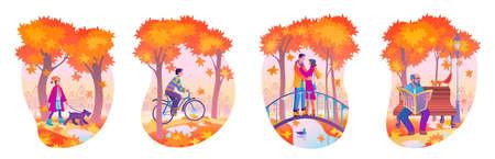 Ensemble d'illustrations vectorielles à plat du parc d'automne avec des personnes qui aiment les activités en plein air et marchent. Jardin public urbain d'automne et citoyens marchant à l'extérieur. Vecteurs