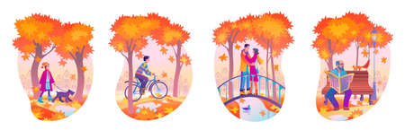 Set of autumn park vector flat illustrations with people who enjoy open air activities and walk. Fall season urban public garden and citizens walking outdoor.