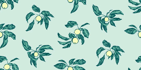 Vintage hand drawing apple tree branches seamless pattern. Vector fruit and leaf on blue background. Graphic grunge ink drawn illustration.