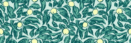 Vintage hand drawing apple tree branches seamless pattern. Vector fruit and leaf on blue background. Graphic grunge endless ink drawn illustration. 일러스트