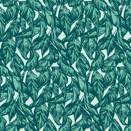 Vintage hand drawing apple tree leaf seamless pattern. Vector foliage on blue background. Graphic grunge ink drawn illustration.