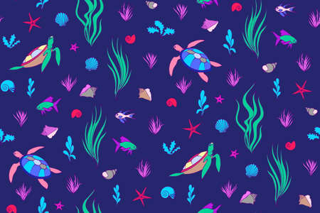 Underwater creatures seamless pattern with turtles, fish, shells. Vector cartoon undersea magic illustration, cute endless kids background.