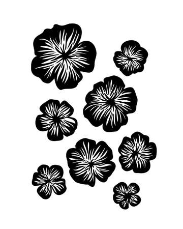 Abstract petunia flowers set. Vector stylized decorative silhouette. Black isolated image on white background.
