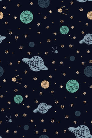 Hand drawn space galaxy vector seamless pattern. Night sky with stars, planets and cosmic satellite endless dark background. Graphic childish print in scandinavian style.