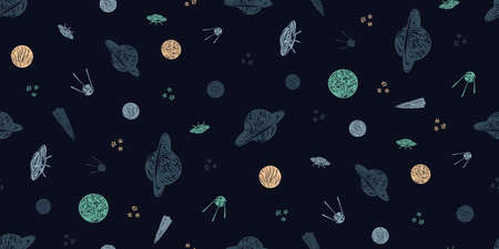 Hand drawn space galaxy vector seamless pattern. Night sky with stars, spaceships, satellite and planets dark background. Graphic childish print in scandinavian style. Illustration