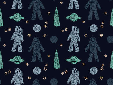 Hand drawn space galaxy vector seamless pattern. Night sky with stars, spaceships, astronauts and planets, endless dark background. Graphic childish print in scandinavian style.