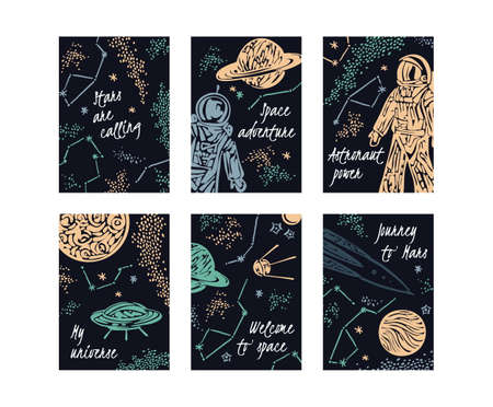 Hand drawn space galaxy retro card set. Night sky with stars, spaceships, astronauts and planets. Vector vertical template for brochure, poster, flyer, banner. Graphic cosmic childish illustration.