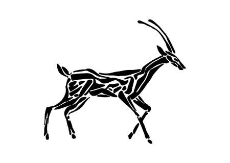 Antelope animal decorative vector illustration painted by ink, hand drawn grunge cave painting, black isolated silhouette on white background. Stock Illustratie