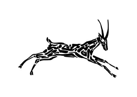 Antelope animal decorative vector illustration painted by ink, hand drawn grunge cave painting, black isolated running silhouette on white background.Antelope animal decorative vector illustration painted by ink, hand drawn grunge cave painting, black isolated running silhouette on white background.