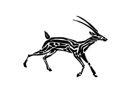 Gazelle animal decorative vector illustration painted by ink, hand drawn grunge cave painting, black isolated running silhouette on white background.