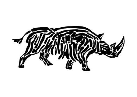 Rhinoceros animal decorative vector illustration painted by ink, hand drawn grunge cave painting, black isolated running silhouette on white background.