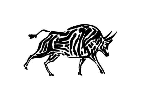Bison animal decorative vector illustration painted by ink, hand drawn grunge cave painting, black isolated buffalo silhouette on white background.