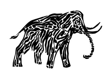 Mammoth animal decorative vector illustration painted by ink, hand drawn grunge cave painting, black isolated silhouette on white background.