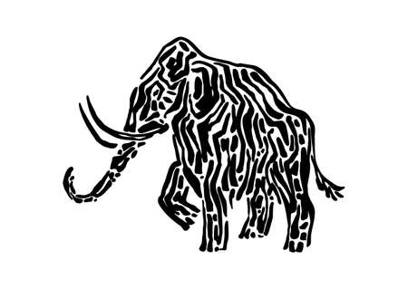 Mammoth animal decorative vector illustration painted by ink, hand drawn grunge cave painting, black isolated elephant silhouette on white background. Illustration