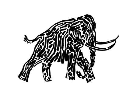 Mammoth animal decorative vector illustration painted by ink, hand drawn grunge cave painting, black isolated walking elephant silhouette on white background. Illustration