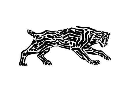 Sabre-toothed tiger animal decorative vector illustration painted by ink, hand drawn grunge cave painting, black isolated silhouette on white background.