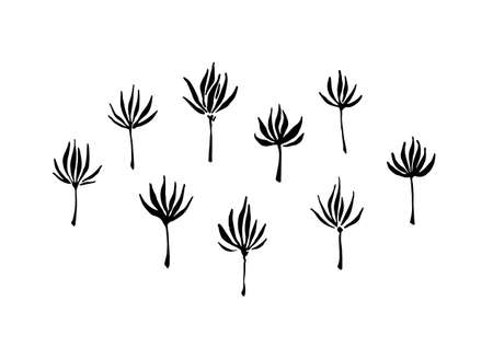 Hand drawn abstract modern flowers collection painted by ink. Grunge style brush painting vector silhouettes. Black isolated imprint on white background.