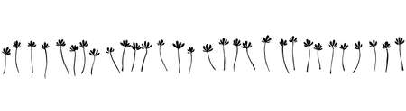 Vector seamless border with ink drawing simple flowers, hand drawn botanical illustration. Black isolated floral silhouette, imprint on white background. Illustration